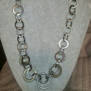 LOFT Silver/Gold Interlocking Hoop Statement Neckl